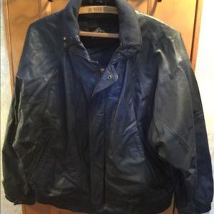 Men's Blue Leather Jacket Robert Comstock Summit